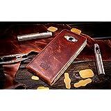 URCOVER® Akira Genuine Leather | Housse de Protection Samsung Galaxy A5 2016 | Cuir Véritable in Flip Limited Edition Marron foncé | Étui Coque Mince Fermeture Magnétique Support Á rabat
