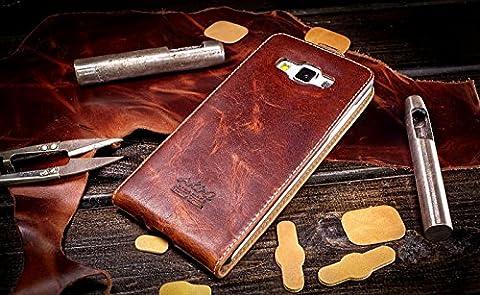URCOVER® Akira Genuine Leather   Housse de Protection Samsung Galaxy A5 2016   Cuir Véritable in Flip Limited Edition Marron foncé   Étui Coque Mince Fermeture Magnétique Support Á rabat