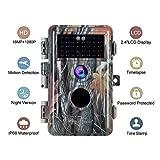 BlazeVideo Cámara de Caza 16MP 1080P IP66 Impermeable 38 LED de IR Invisible 2.4'' LCD Visión Nocturna hasta 20m para Fauna Seguridad Hogar Mascota Animal