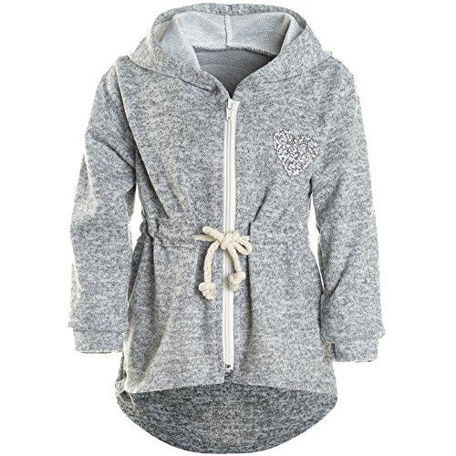 BEZLIT Mädchen Kapuzen Jacke Pulli Pullover Glitzer Sweatshirt 21489, Farbe:Grau, Größe:152 (Rollkragenpullover Mädchen Pulli)