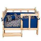 YXINY Perrera Cama del Animal doméstico Marco de la Cama de Madera Ninguna Pintura no tóxica con los amortiguadores Limpia 4 Colores a Elegir de (Color : Azul)