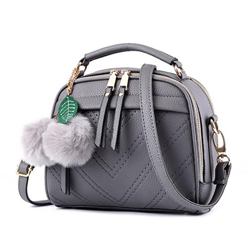 Hippolo Damen Handtasche Klein Umhängetasche Schultertaschen PU Leder Taschen Henkeltasche Shopper (Grau)