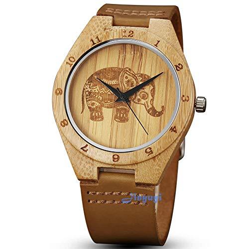 gorben relojes de madera para hombres, Creative elefante madera de bambú Relojes correa de piel de vaca Natural hecho a mano ligero japonés cuarzo relojes para mujeres hombres caja de regalo