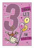 Depesche 5698.006 - Glückwunschkarte mit Musik, 3. Geburtstag, rosa