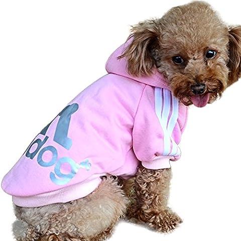 DULEE Adidog Sweat à capuche hiver Sweat à capuche Chemise chaude pour petit chien, Rose, Taille XXL