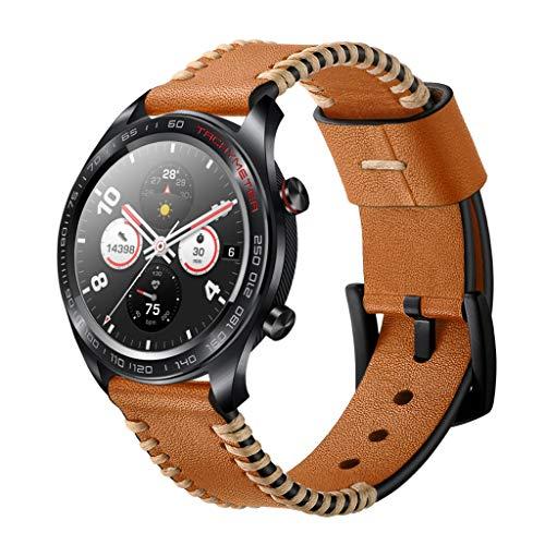 Preisvergleich Produktbild Feitb Einfach Stitch Pattern Ersatz Lederband Uhrenarmband Handschlaufe Armband Ersatzarmband Langlebig Für Huawei Honor Magic 2 watch (braun)