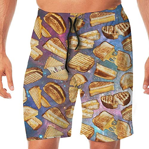 VVIANS Man Summer Grilled Cheese Sandwich Space Galaxy Quick Dry Volleyball Beach Shorts Board Shorts X-Large -