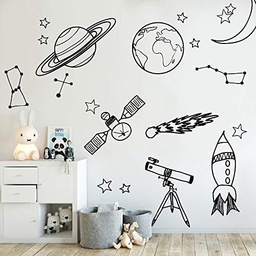haochenli188 DIY Wandaufkleber Für Kinderzimmer Astronomie Werkzeug Raumfahrt Astronomie Schule deocr Wandvinyl Aufkleber Abnehmbare KindergartenWandtattoos 56x58 cm