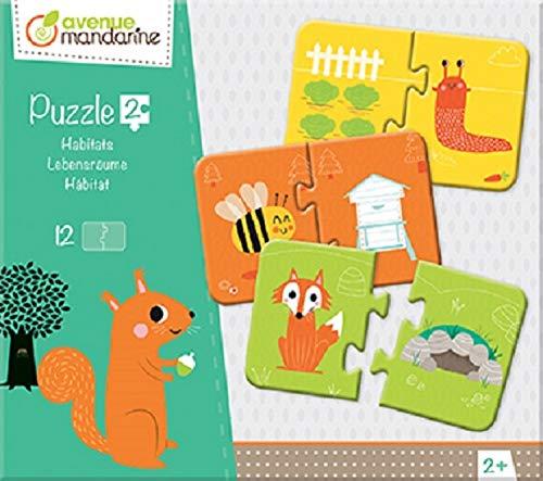 Avenue Mandarine JE511C Set mit 12 Puzzles 2-teilig, praktisch, spielerisch und farbenfroh, ideal für Kinder ab 3 Jahren, 1 Set, Lebensräume