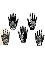 5 Feuilles Mehndi Tatouage Pochoir pour la main Set H Mehndi Tatouages au henné - pour tatouage au henné, tatouage paillettes et aérographe tatouage