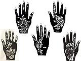 Kit de plantillas 5con diseños de Henna para manos de Mehandi. También adecuadas para tatuajes...