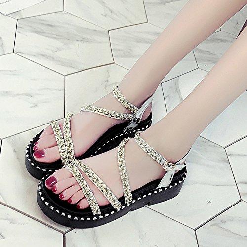 XY&GKFrauen dicker Gummisohle Sandalen Sommer Schuhe mit einem Diamanten Muffin 38 Silver