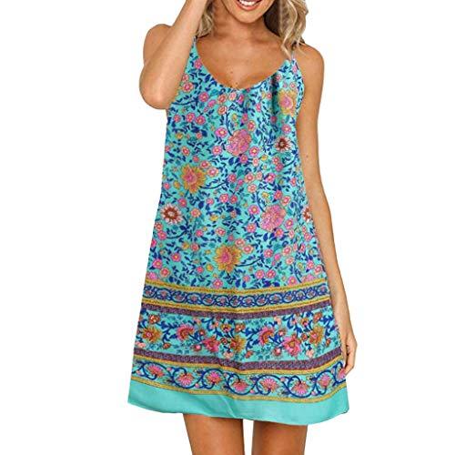 usschnitt Sommer Party Abend Strand Langes Kleid Sommerkleid Elegant Jahrgang Floral Drucken Cocktailkleider ()