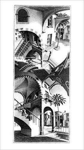 Escher, M.C. - Oben und Unten - Kunstdruck Artprint Zeichnung - Grösse 45x79 cm (Escher-zeichnung)