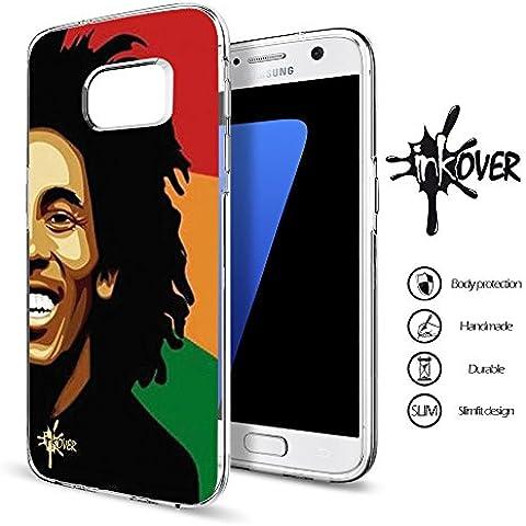 Custodia Cover Guscio Protezione Trasparente Slim Fit Tpu Flessibile Morbida INKOVER Bob Marley Chitarra Jah Raggae Rasta Africa Jamaica per SAMSUNG GALAXY ALPHA