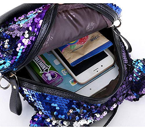 Best mini backpacks for girls in India 2020 MOCA Mini Small Backpack Daypack for Womens Girls Sequins Mini Small Travelling Outdoor Picnic School College Office Casual Daily use Daypack Backpack Rucksack Back Bag for Womens Girls Kids (Purple) Image 3