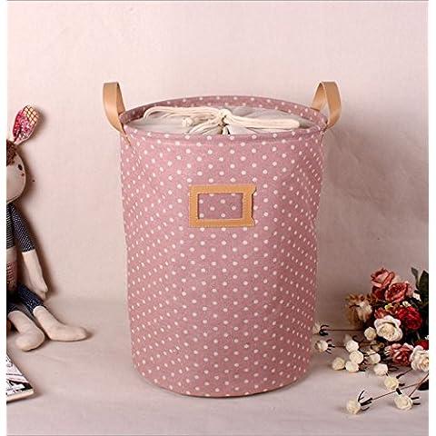 ztsy lino y algodón tela cesta redonda de almacenamiento, rosa lunares, bolsa para la colada, 13.78*