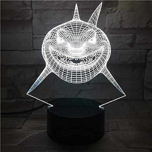 CYJQT 3D Nachtlicht Kinder Emotion Licht Gx-086 Cartoon Shark Halloween Geschenk Nachtlicht 7 Farbwechsel Led Tischlampe Tischlampe Acrylplatte Stereo Illusion Lava Lampe