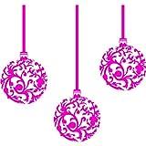3 er Set Weihnachtskugeln (20 cm), Farbe: Pink, Motiv Christbaumkugeln, Weihnachtsdekoration, Fenster und Wand Aufkleber, Wand Windows-Art ThatVinylPlace Wandtattoo,