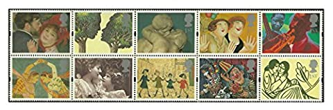 1995 Greetings - Art Stamps for Postage - 10 x Royal Mail 1st Class stamps featuring La Danse a la Campagne (Renoir), Troilus and Criseyde (Peter Brookes) etc by Royal Mail Stamps