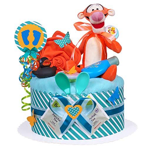 MomsStory - Windeltorte Junge   Tigger Disney   Baby-Geschenk zur Geburt Taufe Babyshower   1 Stöckig (Türkis-Orange) mit Plüschtier Lätzchen Schnuller & mehr