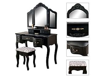 Coiffeuse table de maquillage coiffeuse avec 3 miroirs for Coiffeuse avec 3 miroirs