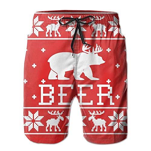 83ce0f0f Fashion Men's Beach Pants Mens Christmas Beer Elk Snowflake Quickly Dry Beach  Shorts Swim Volley Trunks