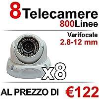 8 Telecamere Videosorveglianza Dome 800 Linee (TVL)