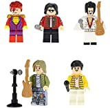 Modbrix 5 minifigure Tote Superstars Michael Jackson, Elvis Presley, Freddy Mercury (Queen), Kurt Cobain (Nirvana), David Bowie