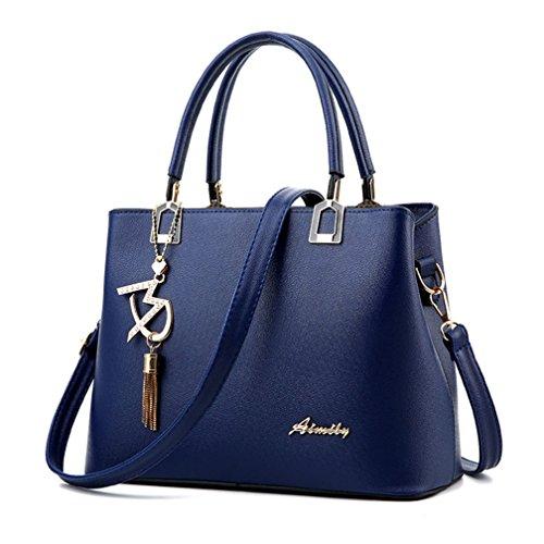 Alidier Nouvelle marque et haute qualité Mode Sac à Main Epaule Messager de Sac Bandoulière Classique Bleu Fonc