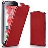 moex Samsung Galaxy S5 | Hülle Rot 360° Klapp-Hülle Etui thin Handytasche Dünn Handyhülle für Samsung Galaxy S5 / S5 Neo Case Flip Cover Schutzhülle Kunst-Leder Tasche
