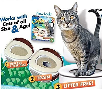 Cat Toilet Seat Training Kit Litter Tray Potty Train Kitty System with Catnip