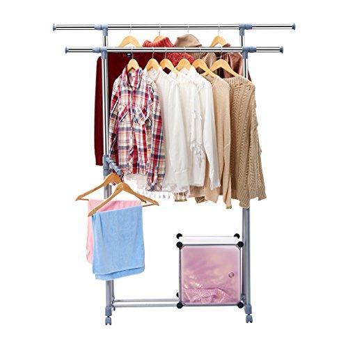 Langria stand appendiabiti di acciaio robusto con ruote,barre inferiori per scatole e scarpe organizzazione,e le armi laterali,appendiabiti per il deposito di abbigliamento professionale con barre e