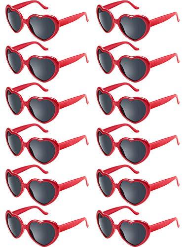 Blulu 12 Stück Neon Farben Herz Form Sonnenbrillen für Damen Kinder Party Favors und Festival (Rot)