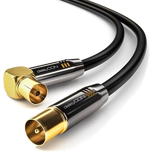 deleyCON 2m TV Antennenkabel HDTV Full HD - 1x gewinkelt - Koaxialkabel - TV-Stecker (gerade) zu TV-Buchse (90° Grad) - Metallstecker - Schwarz