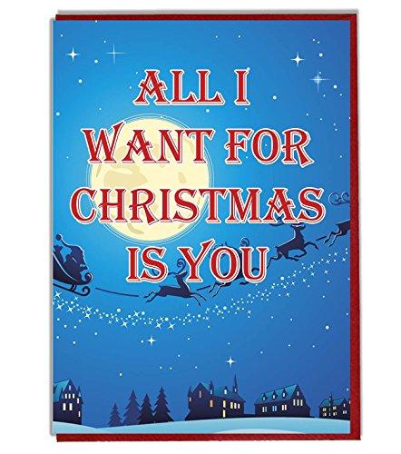 Liebes-/romantische Weihnachtskarte – All I Want for Christmas is You, festliches Design