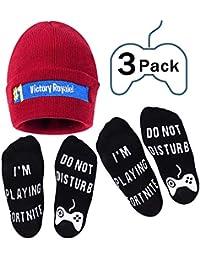 Victory Royale sombrero de invierno de punto gorro y calcetines de algodón conjunto de algodón calcetines