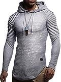 LEIF NELSON Herren Hoodie Pullover Kapuzenpullover T-Shirt Rundhals Ausschnitt Longsleeve Oversize Sweatshirt Hoody Sweatshirt Sweater LN8128 S-XXL; Größe L, Dunkel Grau