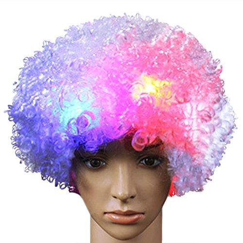 Funny Clown Perücke Afro Perücke Kostüm Perücke blinkende Perücke für Party Cosplay Zubehör (Arbeit-kostüme Für Halloween)