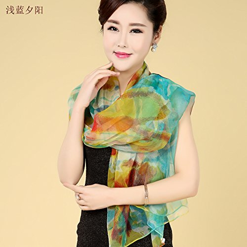 YRXDD Sunscreen shawl scarf lady silk silk thin section beach towel long scarf (105 * 170cm), light blue sunset
