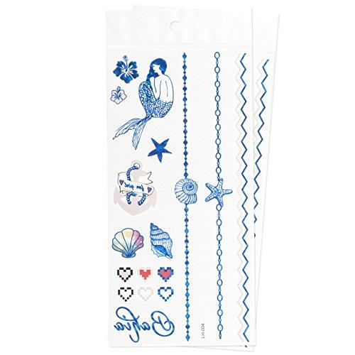 zookyr-braccialetto-e-simboli-conchiglia-sirena-gioielli-tatuaggi-temporanei-impermeabili-adesivi-me