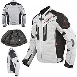A-pro Textile Blouson Moto Protections CE Respirant Réfléchissant Gris 3X