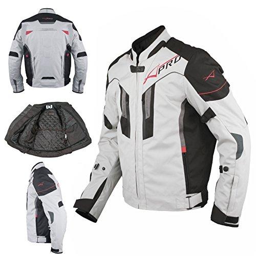 Giacca Moto Tessuto Sport Protezioni CE Riflettente Ventilata Grigio XL