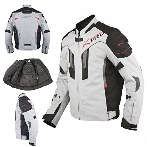 A-Pro Textil Motorrad Jacke Wasserdichte CE Protektoren Reflektirende Grau M Pro Jacke