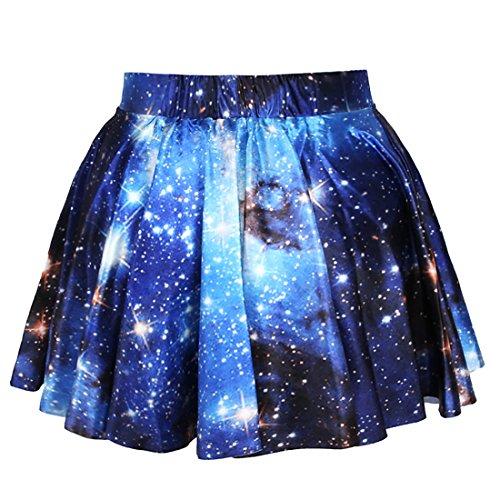 Fashion Damen Sommerkleid Retro Digital Print Vintage Kleid Minikleid Minidress Minirock Rock Skirt (Blaue Galaxie)