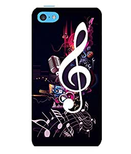 printtech Music Notes Back Case Cover for Apple iPhone 5C