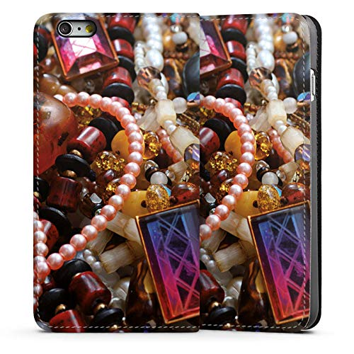 DeinDesign Leder Flip Case kompatibel mit Apple iPhone 6 Plus Tasche Hülle Schmuck Juwelen Perlen