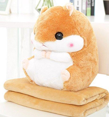 YunNasi 2 in 1 Schöner und Niedlich Plüschtier Hamster kissen mit Fleece Blanket Super Witziges und Süßes Geschenk für Kinder und Freundin 50cmX30cm (Hellbraun)