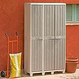 Mobile In Resina Florida 3 Ante Ripiani Portascope 97x38x178h Grigio/Tortora immagine