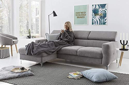 myHomery Ärmeldecke Anthrazit 170x200 cm - Kuscheldecke XL - TV-Decke mit Ärmeln - Fleecedecke als Geschenk - Sofadecke mit Taschen für IPad Fernbedienung und Füße